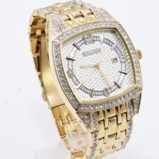 Relojes: ELGIN HOMBRE NUEVO TONO DORADO FECHA BANDA DE CUARZO RELOJ RECTÁNGULO DE CRISTAL. Lote 103471854