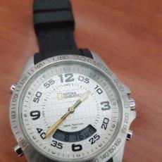 Relojes: RELOJ CABALLERO CUARZO NATIONAL GEOGRAPHIC, ANALÓGICO Y DIGITAL, CORREA DE SILICONA ORIGINAL NEGRA. Lote 95837707