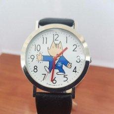 Relojes: RELOJ DE CABALLERO CUARZO CON ESFERA DE LA MASCOTA COBI JUEGOS OLÍMPICOS DE BARCELONA, CORREA CUERO. Lote 95838999