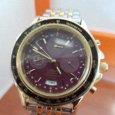 Relojes: RELOJ CABALLERO (VINTAGE) LORUS DE CUARZO, CRONO, ALARMA, FECHA CHAPADO DE ORO CORREA ACERO BICOLOR. Lote 97456371