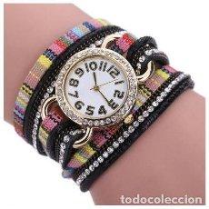 Relojes: RELOJ BOHEMIO STRASS MUJER COLOR NEGRO. Lote 99311123