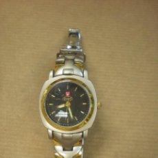 Relojes: RELOJ PULSERA CADENA DORADA Y ACERO MARCA VINOFI 3X2CM . Lote 100291707