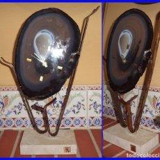 Relojes: RELOJ DE DISEÑO AGATA DE BRASIL SOBRE METAL RIC-ART MIDE LA PIEDRA 24/16 CM. EL CONJUNTO 38/20 CM. . Lote 101405367