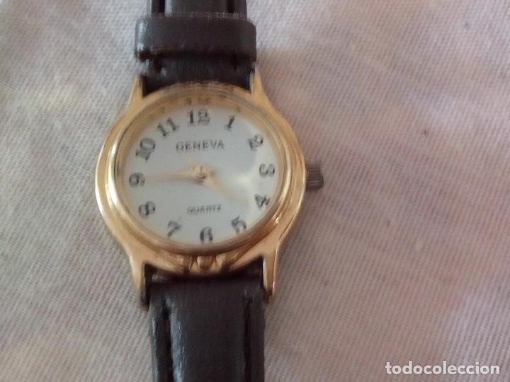 RELOJ GENEVA QUARTZ CON CORREA DE CUERO NEGRA. (Relojes - Relojes Actuales - Otros)