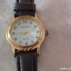 Relojes: RELOJ GENEVA QUARTZ CON CORREA DE CUERO NEGRA.. Lote 101650327