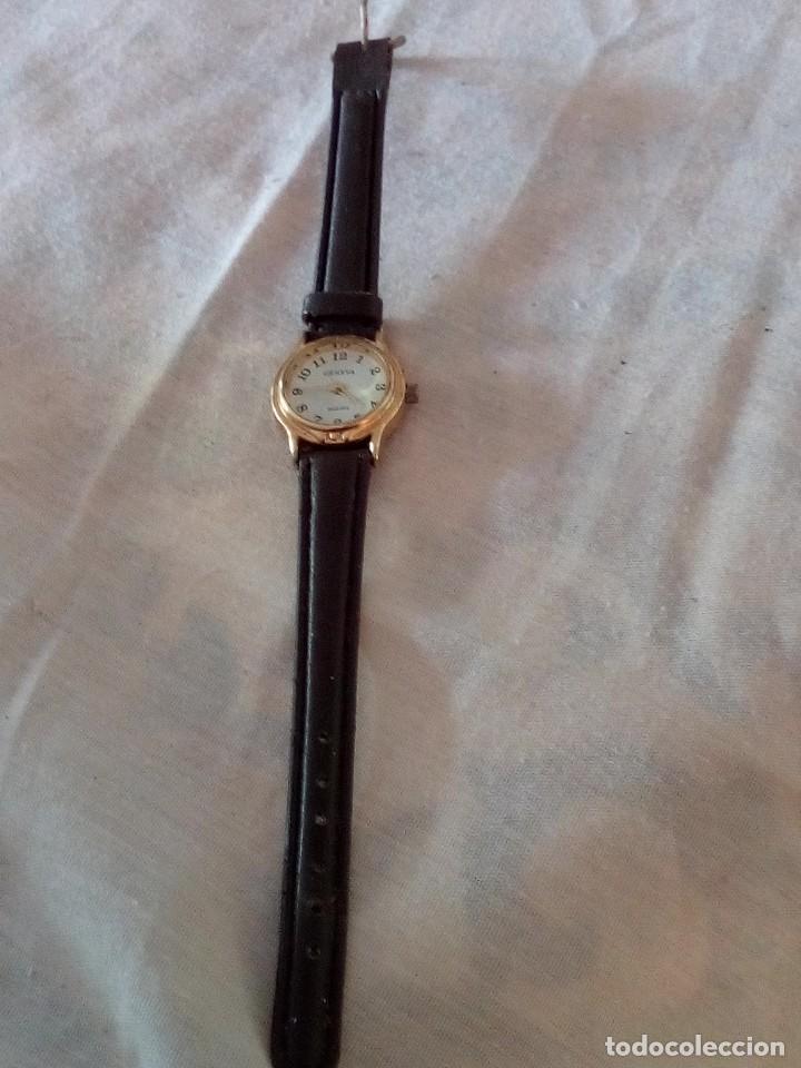 Relojes: reloj geneva quartz con correa de cuero negra. - Foto 2 - 101650327