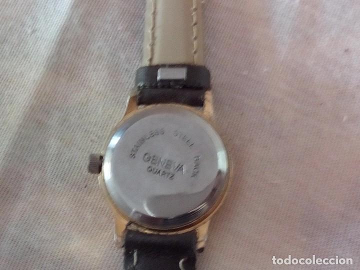 Relojes: reloj geneva quartz con correa de cuero negra. - Foto 3 - 101650327