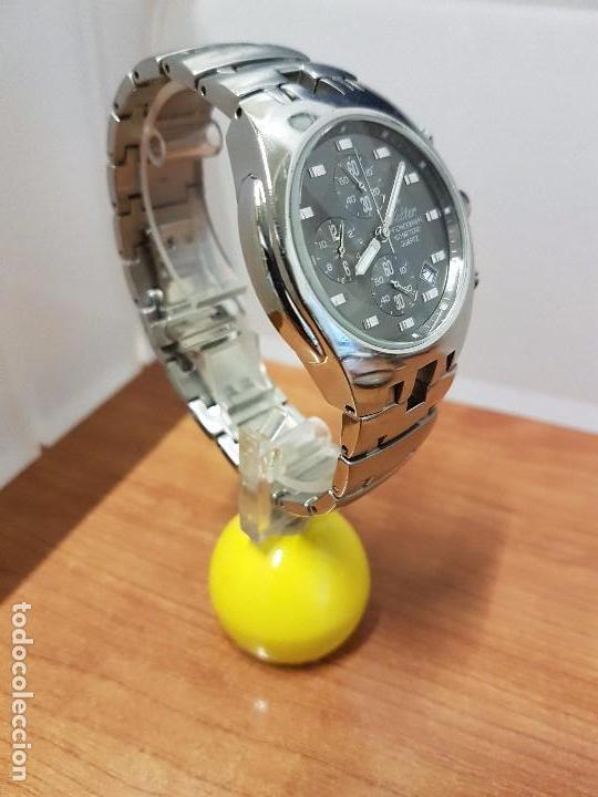 Relojes: Reloj caballero marca KALTER acero cronografo 100 metros de cuarzo, correa de acero original - Foto 3 - 102378647