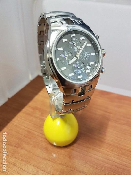 Relojes: Reloj caballero marca KALTER acero cronografo 100 metros de cuarzo, correa de acero original - Foto 4 - 102378647