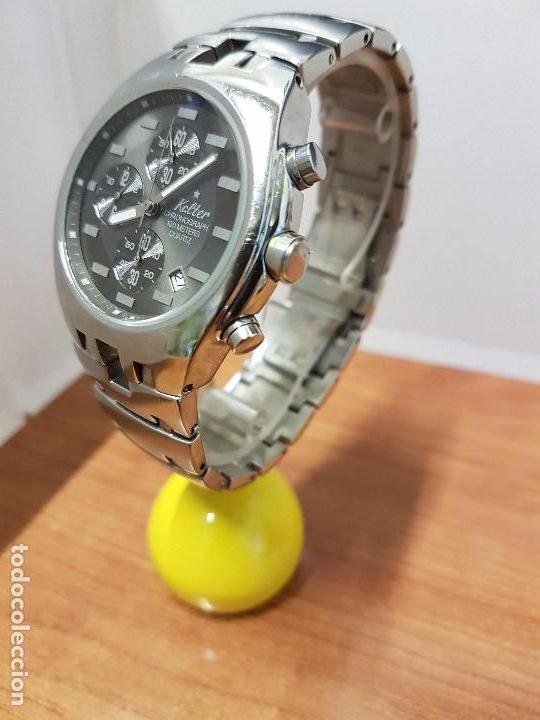 Relojes: Reloj caballero marca KALTER acero cronografo 100 metros de cuarzo, correa de acero original - Foto 5 - 102378647