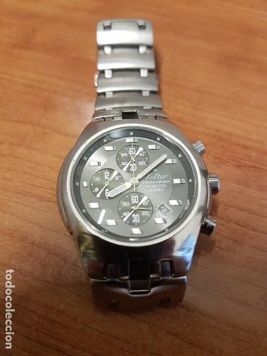 Relojes: Reloj caballero marca KALTER acero cronografo 100 metros de cuarzo, correa de acero original - Foto 7 - 102378647