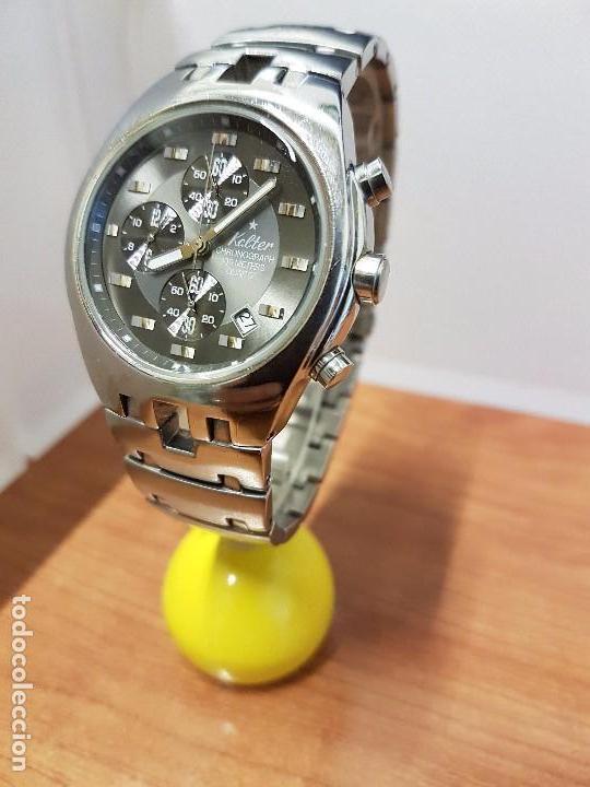 Relojes: Reloj caballero marca KALTER acero cronografo 100 metros de cuarzo, correa de acero original - Foto 13 - 102378647