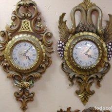 Relojes: 2 RELOJES DE MADERA DE LENGA. Lote 104113867