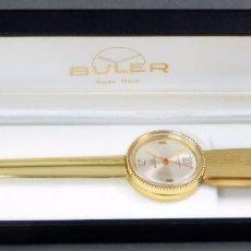 Relojes: ABRECARTAS DORADO RELOJ BULER SWISS EN SU ESTUCHE ORIGINAL DEDICADO AÑOS 70. Lote 105986279