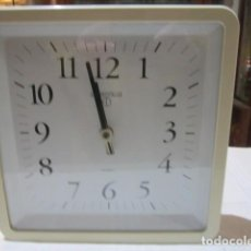 Relojes: RELOJ DE PARED EN METAL BLANCO. CUARZO. 22 X 22 CMS.. Lote 106917607