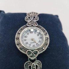 Relojes: MAGNÍFICO RELOJ VINTAGE CHAPADO EN PLATA DE LEY CONTRASTADA CON MARQUESITAS ENGARZADAS.. Lote 109501875