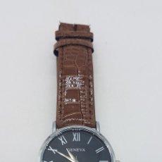 Relojes: ELEGANTE RELOJ DE CABALLERO CON ESFERA NEGRA Y CORREA EN SÍMIL DE PIEL DE COCODRILO.. Lote 115137227