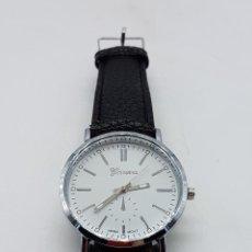 Relojes: ELEGANTE RELOJ DE ESTILO CLÁSICO CON CORREA DE TONO NEGRO.. Lote 115395931