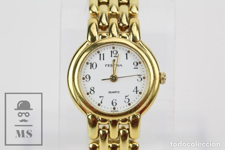 RELOJ DE PULSERA PARA MUJER - FESTINA - QUARTZ / CUARZO - CORREA DE ESLABONES DORADA (Relojes - Relojes Actuales - Otros)