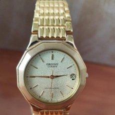 Relojes: RELOJ CABALLERO ORIENT DE CUARZO CHAPADO DE ORO CON CALENDARIO A LAS TRES HORAS, CORREA CHAPADA ORO. Lote 117242671