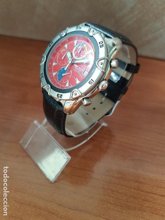 Relojes: Reloj caballero ORIENT cuarzo de acero cronografo, calendario a las tres, correa de cuero negra - Foto 2 - 117352387