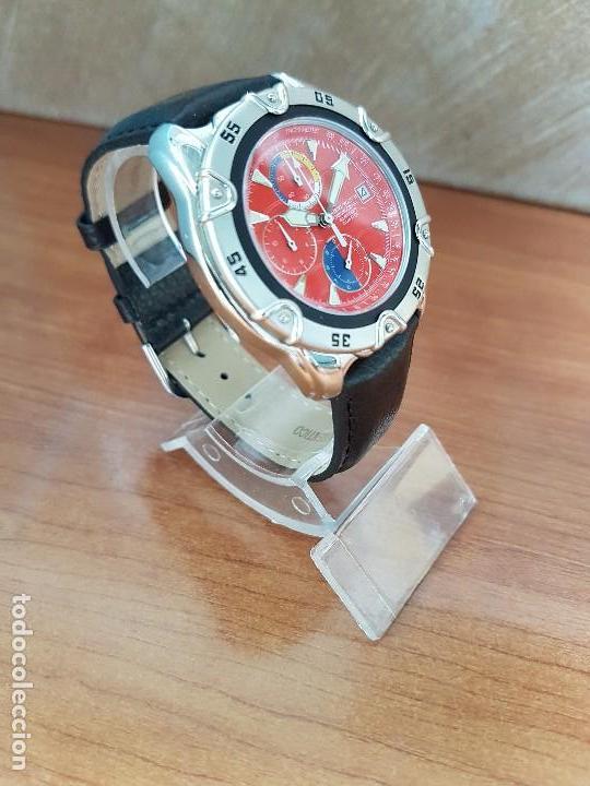 Relojes: Reloj caballero ORIENT cuarzo de acero cronografo, calendario a las tres, correa de cuero negra - Foto 3 - 117352387