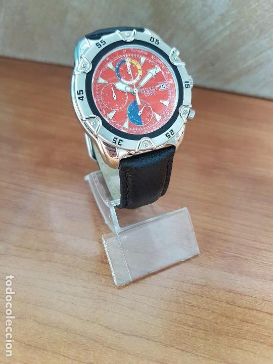 Relojes: Reloj caballero ORIENT cuarzo de acero cronografo, calendario a las tres, correa de cuero negra - Foto 4 - 117352387