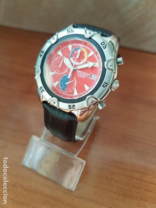 Relojes: Reloj caballero ORIENT cuarzo de acero cronografo, calendario a las tres, correa de cuero negra - Foto 5 - 117352387