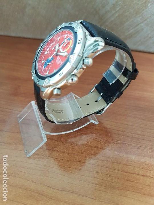 Relojes: Reloj caballero ORIENT cuarzo de acero cronografo, calendario a las tres, correa de cuero negra - Foto 6 - 117352387