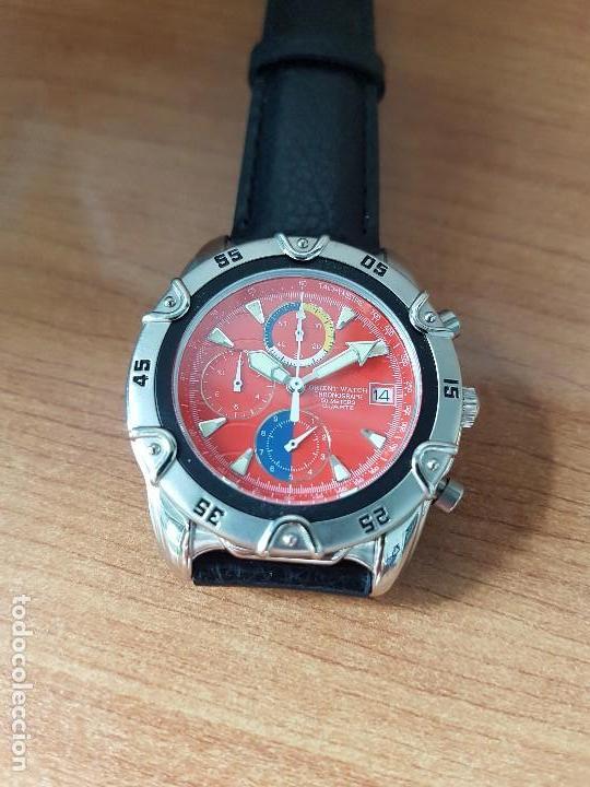 Relojes: Reloj caballero ORIENT cuarzo de acero cronografo, calendario a las tres, correa de cuero negra - Foto 8 - 117352387