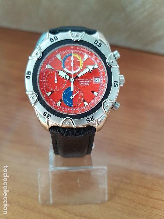 Relojes: Reloj caballero ORIENT cuarzo de acero cronografo, calendario a las tres, correa de cuero negra - Foto 9 - 117352387
