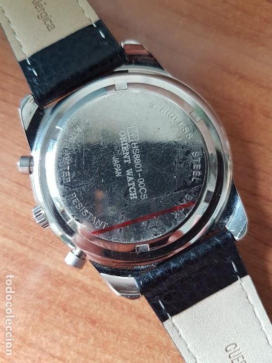 Relojes: Reloj caballero ORIENT cuarzo de acero cronografo, calendario a las tres, correa de cuero negra - Foto 15 - 117352387