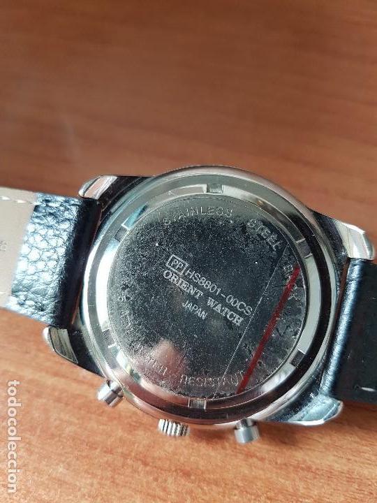 Relojes: Reloj caballero ORIENT cuarzo de acero cronografo, calendario a las tres, correa de cuero negra - Foto 17 - 117352387