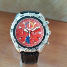 Relojes: RELOJ CABALLERO ORIENT CUARZO DE ACERO CRONOGRAFO, CALENDARIO A LAS TRES, CORREA DE CUERO NEGRA . Lote 117352387