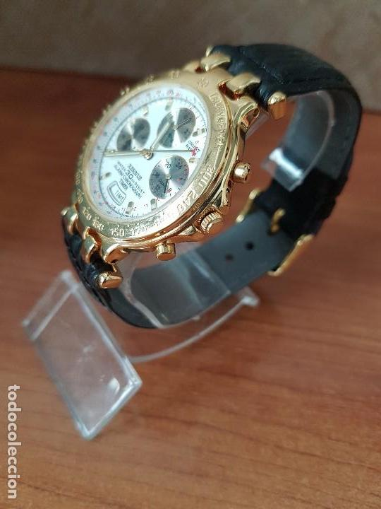 Relojes: Reloj caballero (Vintage) ORIENT cronografo, alarma, chapado de oro, correa de cuero negra sin uso - Foto 2 - 117363363
