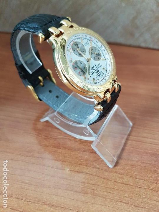 Relojes: Reloj caballero (Vintage) ORIENT cronografo, alarma, chapado de oro, correa de cuero negra sin uso - Foto 3 - 117363363