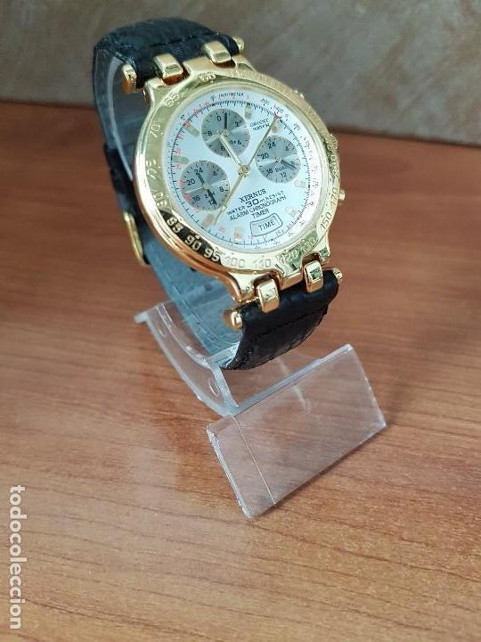 Relojes: Reloj caballero (Vintage) ORIENT cronografo, alarma, chapado de oro, correa de cuero negra sin uso - Foto 4 - 117363363