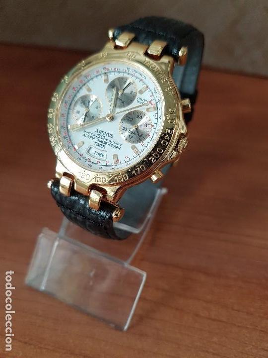 Relojes: Reloj caballero (Vintage) ORIENT cronografo, alarma, chapado de oro, correa de cuero negra sin uso - Foto 5 - 117363363