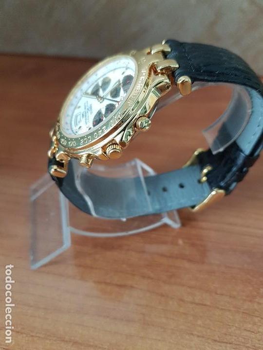 Relojes: Reloj caballero (Vintage) ORIENT cronografo, alarma, chapado de oro, correa de cuero negra sin uso - Foto 6 - 117363363