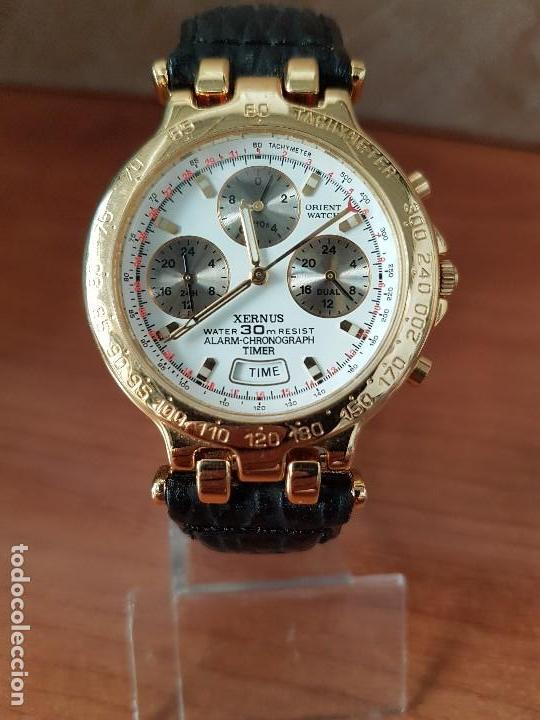 Relojes: Reloj caballero (Vintage) ORIENT cronografo, alarma, chapado de oro, correa de cuero negra sin uso - Foto 8 - 117363363