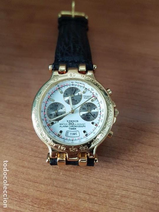Relojes: Reloj caballero (Vintage) ORIENT cronografo, alarma, chapado de oro, correa de cuero negra sin uso - Foto 9 - 117363363