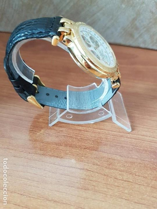 Relojes: Reloj caballero (Vintage) ORIENT cronografo, alarma, chapado de oro, correa de cuero negra sin uso - Foto 10 - 117363363