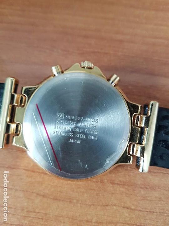Relojes: Reloj caballero (Vintage) ORIENT cronografo, alarma, chapado de oro, correa de cuero negra sin uso - Foto 16 - 117363363