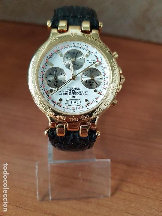 Relojes: Reloj caballero (Vintage) ORIENT cronografo, alarma, chapado de oro, correa de cuero negra sin uso - Foto 17 - 117363363
