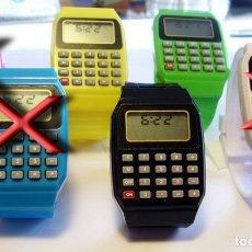 Relojes: RELOJ CALCULADORA MODA JOVEN COLORES FASHON PULSERA SILICONA. Lote 147295742