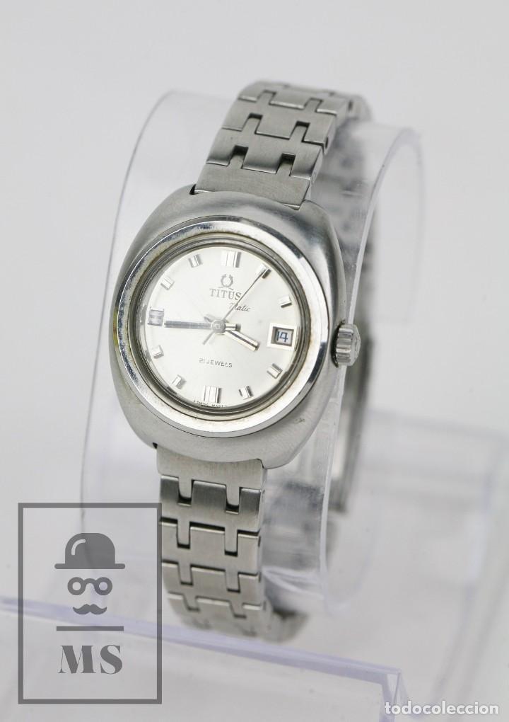Relojes: Reloj Pulsera Automático Titus Matic de Mujer - 21 Jewels / Calendario - Correa Eslabones - Funciona - Foto 2 - 121995003