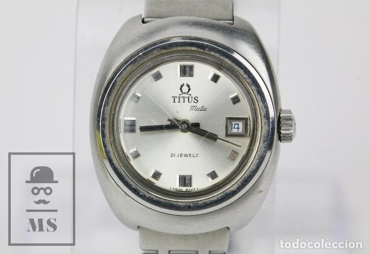 Relojes: Reloj Pulsera Automático Titus Matic de Mujer - 21 Jewels / Calendario - Correa Eslabones - Funciona - Foto 4 - 121995003