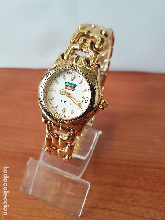Relojes: Reloj de señora Orient con calendario de cuarzo chapado de oro, correa chapada de oro original - Foto 2 - 122653683