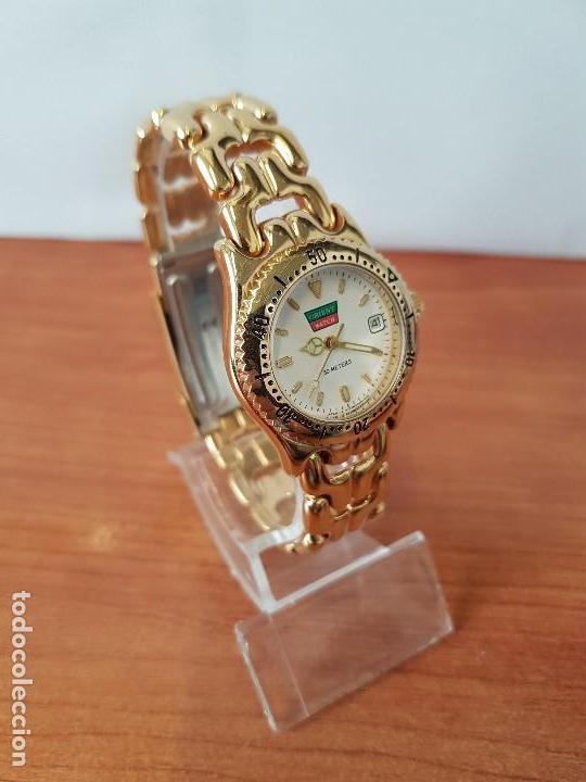 Relojes: Reloj de señora Orient con calendario de cuarzo chapado de oro, correa chapada de oro original - Foto 3 - 122653683