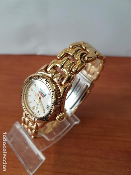 Relojes: Reloj de señora Orient con calendario de cuarzo chapado de oro, correa chapada de oro original - Foto 4 - 122653683